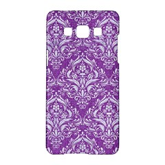 Damask1 White Marble & Purple Denim Samsung Galaxy A5 Hardshell Case