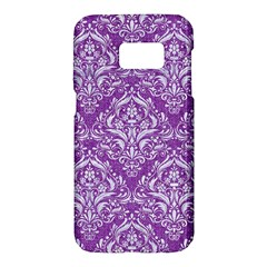 Damask1 White Marble & Purple Denim Samsung Galaxy S7 Hardshell Case