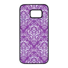 Damask1 White Marble & Purple Denim Samsung Galaxy S7 Edge Black Seamless Case