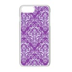 DAMASK1 WHITE MARBLE & PURPLE DENIM Apple iPhone 7 Plus Seamless Case (White) Front