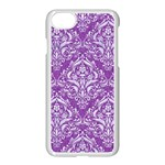 DAMASK1 WHITE MARBLE & PURPLE DENIM Apple iPhone 8 Seamless Case (White) Front