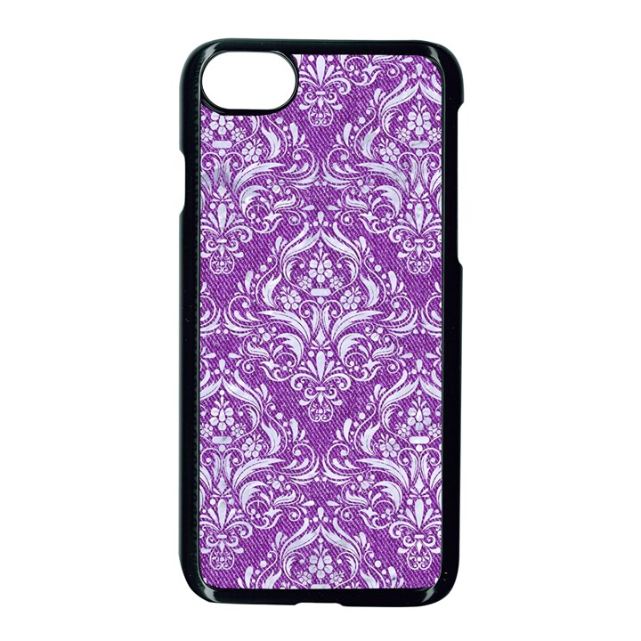 DAMASK1 WHITE MARBLE & PURPLE DENIM Apple iPhone 8 Seamless Case (Black)