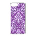 DAMASK1 WHITE MARBLE & PURPLE DENIM Apple iPhone 8 Plus Seamless Case (White) Front