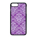 DAMASK1 WHITE MARBLE & PURPLE DENIM Apple iPhone 8 Plus Seamless Case (Black) Front
