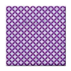 Circles3 White Marble & Purple Denim (r) Tile Coasters