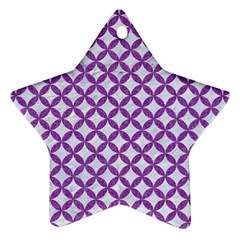 Circles3 White Marble & Purple Denim (r) Ornament (star)