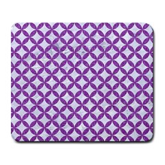 Circles3 White Marble & Purple Denim (r) Large Mousepads