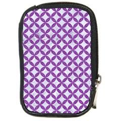 Circles3 White Marble & Purple Denim (r) Compact Camera Cases