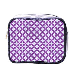 Circles3 White Marble & Purple Denim (r) Mini Toiletries Bags