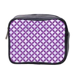 Circles3 White Marble & Purple Denim (r) Mini Toiletries Bag 2 Side