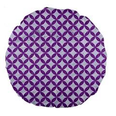 Circles3 White Marble & Purple Denim (r) Large 18  Premium Round Cushions by trendistuff