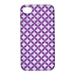 Circles3 White Marble & Purple Denim (r) Apple Iphone 4/4s Hardshell Case With Stand