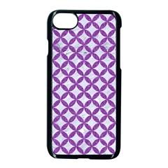 Circles3 White Marble & Purple Denim (r) Apple Iphone 8 Seamless Case (black) by trendistuff