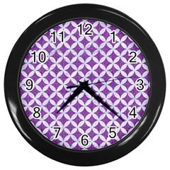 Circles3 White Marble & Purple Denim Wall Clocks (black) by trendistuff