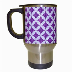 Circles3 White Marble & Purple Denim Travel Mugs (white)