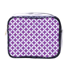 Circles3 White Marble & Purple Denim Mini Toiletries Bags