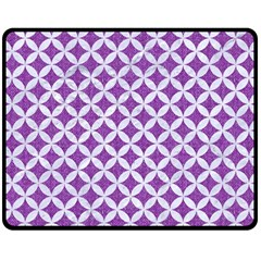 Circles3 White Marble & Purple Denim Fleece Blanket (medium)
