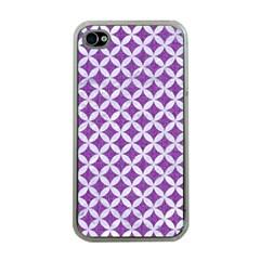 Circles3 White Marble & Purple Denim Apple Iphone 4 Case (clear)