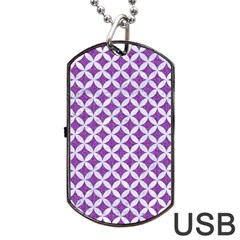 Circles3 White Marble & Purple Denim Dog Tag Usb Flash (two Sides)