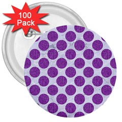 Circles2 White Marble & Purple Denim (r) 3  Buttons (100 Pack)