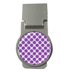 Circles2 White Marble & Purple Denim (r) Money Clips (round)