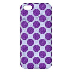 Circles2 White Marble & Purple Denim (r) Apple Iphone 5 Premium Hardshell Case