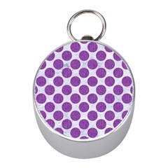 Circles2 White Marble & Purple Denim (r) Mini Silver Compasses