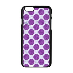 Circles2 White Marble & Purple Denim (r) Apple Iphone 6/6s Black Enamel Case