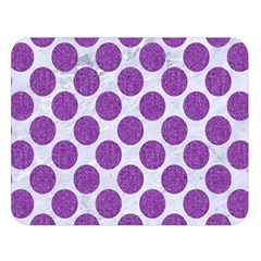 Circles2 White Marble & Purple Denim (r) Double Sided Flano Blanket (large)