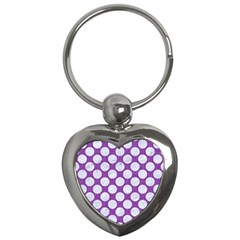 Circles2 White Marble & Purple Denim Key Chains (heart)