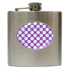 Circles2 White Marble & Purple Denim Hip Flask (6 Oz) by trendistuff