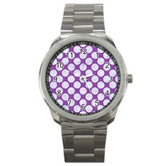 Circles2 White Marble & Purple Denim Sport Metal Watch by trendistuff