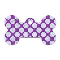 Circles2 White Marble & Purple Denim Dog Tag Bone (one Side)