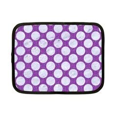 Circles2 White Marble & Purple Denim Netbook Case (small)