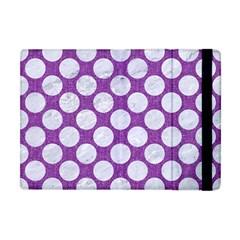 Circles2 White Marble & Purple Denim Apple Ipad Mini Flip Case