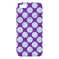 Circles2 White Marble & Purple Denim Apple Iphone 5 Premium Hardshell Case