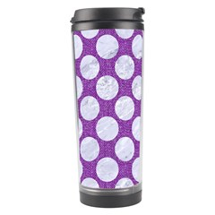Circles2 White Marble & Purple Denim Travel Tumbler