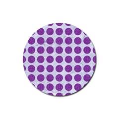 Circles1 White Marble & Purple Denim (r) Rubber Round Coaster (4 Pack)