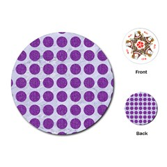 Circles1 White Marble & Purple Denim (r) Playing Cards (round)