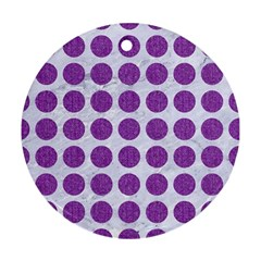 Circles1 White Marble & Purple Denim (r) Round Ornament (two Sides)