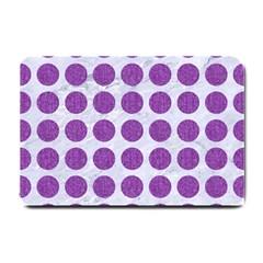 Circles1 White Marble & Purple Denim (r) Small Doormat