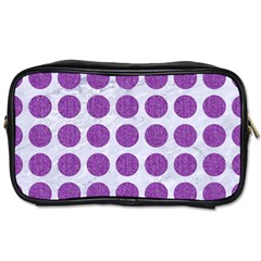 Circles1 White Marble & Purple Denim (r) Toiletries Bags