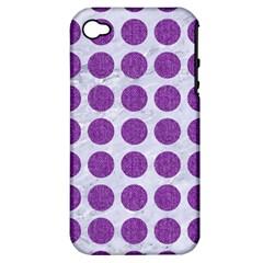 Circles1 White Marble & Purple Denim (r) Apple Iphone 4/4s Hardshell Case (pc+silicone)