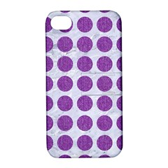 Circles1 White Marble & Purple Denim (r) Apple Iphone 4/4s Hardshell Case With Stand