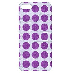 Circles1 White Marble & Purple Denim (r) Apple Iphone 5 Hardshell Case With Stand