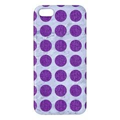 Circles1 White Marble & Purple Denim (r) Apple Iphone 5 Premium Hardshell Case