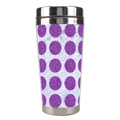 Circles1 White Marble & Purple Denim (r) Stainless Steel Travel Tumblers
