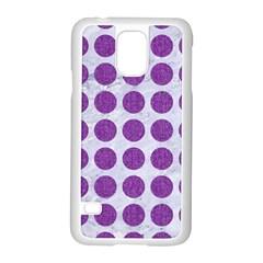 Circles1 White Marble & Purple Denim (r) Samsung Galaxy S5 Case (white) by trendistuff
