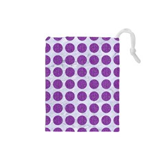 Circles1 White Marble & Purple Denim (r) Drawstring Pouches (small)