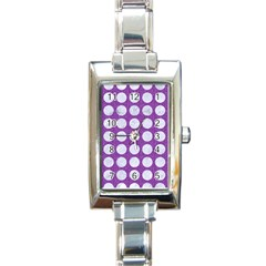 Circles1 White Marble & Purple Denim Rectangle Italian Charm Watch